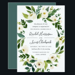 """Alabaster Floral Frame Wedding Invitation<br><div class=""""desc"""">Our Alabaster wedding invitation surrounds your wedding day details with an oval frame of painted watercolor greenery,  botanical foliage and white rose and peony flowers.</div>"""