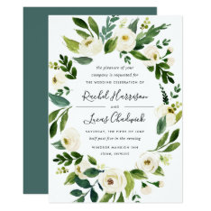 Alabaster Floral Frame Wedding Invitation at Zazzle