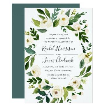 RedwoodAndVine Alabaster Floral Frame Wedding Invitation