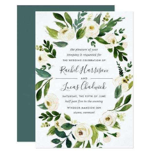 alabaster floral frame wedding invitation zazzle com