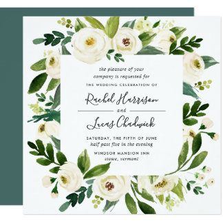 Alabaster Floral Frame Wedding Invitation | Square