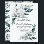 """Alabaster Floral Greenery   Watercolor Wedding Card<br><div class=""""desc"""">White - alabaster watercolor flowers and greenery elegant summer wedding invitations</div>"""