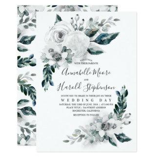 Alabaster Floral Greenery | Watercolor Wedding Card