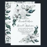 "Alabaster Floral Greenery | Watercolor Wedding Invitation<br><div class=""desc"">White - alabaster watercolor flowers and greenery elegant summer wedding invitations</div>"