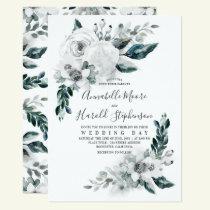 Alabaster Floral Greenery | Watercolor Wedding Invitation