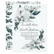 Alabaster Floral Greenery | Watercolor Wedding Invitation