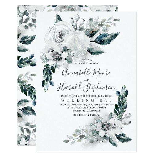 Alabaster Floral Greenery Watercolor Wedding Invitation