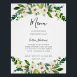 "Alabaster Floral Menu Sign<br><div class=""desc"">Charming wedding menu sign displays your dinner selections in chic handwritten calligraphy and modern block lettering. Adorned with watercolor botanical greenery and white flowers that match our Alabaster Floral wedding collection.</div>"