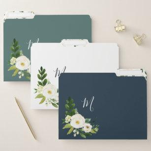 Alabaster Floral Monogram File Folder