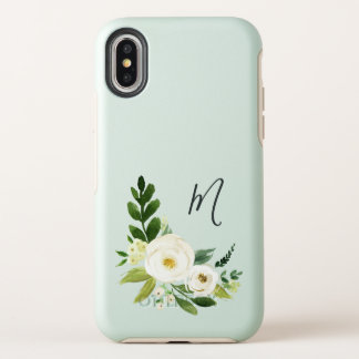 Alabaster Floral Monogram OtterBox Symmetry iPhone X Case