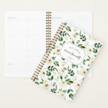 """Alabaster Floral Personalized Planner<br><div class=""""desc"""">Chic personalized planner features a background pattern of white watercolor roses and lush greenery. Personalize with three lines of custom text.</div>"""