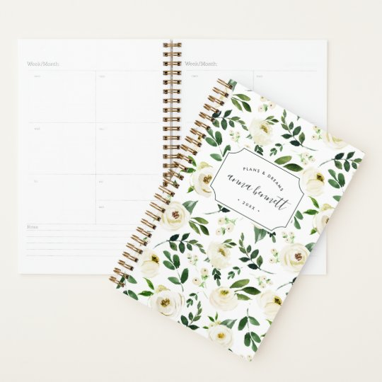 alabaster floral personalized planner zazzle com
