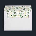 """Alabaster Floral Pre-Printed Return Address 5x7 Envelope<br><div class=""""desc"""">Personalize these crisp white envelopes with your return address for a chic finish to your wedding or special event invitations. Envelopes open to reveal our Alabaster floral pattern of white watercolor flowers and green foliage.</div>"""