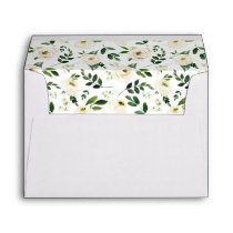 Alabaster Floral Pre-Printed Return Address 5x7 Envelope