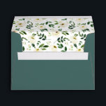 """Alabaster Floral Pre-Printed Return Address 5x7 Envelope<br><div class=""""desc"""">Personalize these deep jasper green envelopes with your return address for a chic finish to your wedding or special event invitations. Envelopes open to reveal our Alabaster floral pattern of white watercolor flowers and green foliage.</div>"""