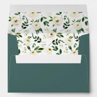 Alabaster Floral Pre-Printed Return Address 5x7 Envelope