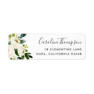 Alabaster Floral Return Address Label
