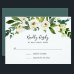 """Alabaster Floral RSVP Card<br><div class=""""desc"""">Designed to coordinate with our Alabaster wedding collection,  this fresh green and white botanical RSVP card features a spray of watercolor greenery and white florals topping your desired response date and custom accept and decline wording.</div>"""