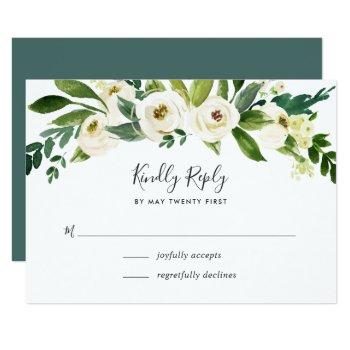 Alabaster Floral Rsvp Card by RedwoodAndVine at Zazzle