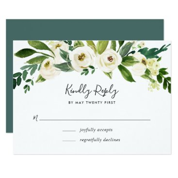 RedwoodAndVine Alabaster Floral RSVP Card