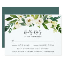 Alabaster Floral RSVP Card with Meal Choice