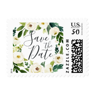 Alabaster Floral Save the Date Postage