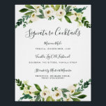 "Alabaster Floral Signature Cocktail Menu Sign<br><div class=""desc"">Invite guests to grab a favorite libation with our charming wedding bar sign. 11x14 bar sign features &quot;signature cocktails&quot; in calligraphy script lettering. Personalize with your specialty drinks with six custom text fields. A chic addition to your wedding bar setup, this sign is adorned with watercolor botanical greenery and white...</div>"