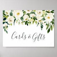 Alabaster Floral Wedding Cards & Gifts Sign