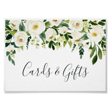 Wedding Themed Alabaster Floral Wedding Cards & Gifts Sign