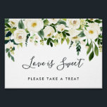 "Alabaster Floral Wedding Dessert Bar Sign<br><div class=""desc"">Designed to match our Alabaster Floral wedding collection, this elegant watercolor floral sign welcomes guests to your dessert table or candy bar. Personalize with two lines of custom text in calligraphy and block lettering (shown with &quot;Love is sweet, please take a treat&quot;), with a top border of white watercolor flowers...</div>"