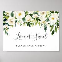 Alabaster Floral Wedding Dessert Bar Sign