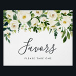 "Alabaster Floral Wedding Favor Sign<br><div class=""desc"">Designed to match our Alabaster Floral wedding collection,  this elegant botanical sign invites guests to take a favor. Personalize with two lines of custom text in calligraphy and block lettering (shown with &quot;Favors; please take one&quot;),  with a top border of white watercolor flowers and lush green botanical foliage.</div>"