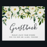 "Alabaster Floral Wedding Guestbook Sign<br><div class=""desc"">Designed to match our Alabaster Floral wedding collection, this elegant botanical sign invites wedding guests to sign your guestbook. Personalize with two lines of custom text in calligraphy script and traditional serif lettering (shown with &quot;Guestbook; please leave your wishes for the new Mr. and Mrs. [name]&quot;), framed by white watercolor...</div>"