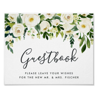 Alabaster Floral Wedding Guestbook Sign