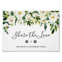 Alabaster Floral Wedding Hashtag Sign