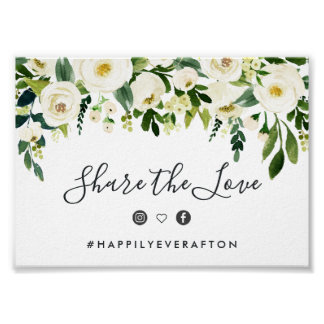 Alabaster Floral Wedding Hashtag Sign
