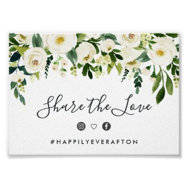 Wedding Themed Alabaster Floral Wedding Hashtag Sign