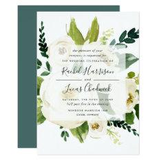 Alabaster Floral Wedding Invitation at Zazzle
