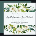 "Alabaster Floral Wedding Invitation | Square<br><div class=""desc"">Our Alabaster wedding invitation in a unique square format frames your wedding details with a top and bottom border of painted watercolor greenery,  botanical foliage and white rose and peony flowers.</div>"