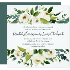 Alabaster Floral Wedding Invitation | Square at Zazzle