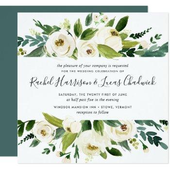 Alabaster Floral Wedding Invitation | Square by RedwoodAndVine at Zazzle