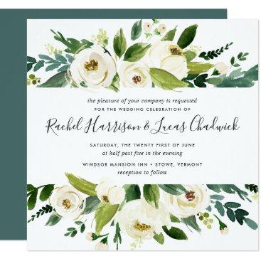 RedwoodAndVine Alabaster Floral Wedding Invitation | Square