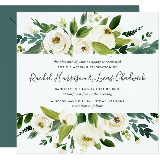 Alabaster floral wedding invitation square