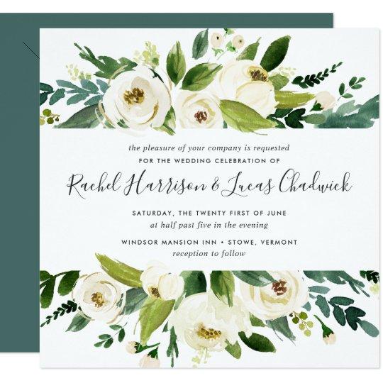 Floral Wedding Invitations.Alabaster Floral Wedding Invitation Square Zazzle Com
