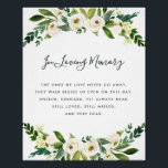 "Alabaster Floral Wedding Memorial Sign<br><div class=""desc"">Designed to match our Alabaster Floral wedding collection, this elegant botanical sign is perfect for placing at a memorial table or display honoring loved ones who have passed. Personalize the header and body text (shown with &quot;In Loving Memory&quot; and a brief poem) framed by lush watercolor greenery and white flowers....</div>"