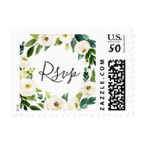 Alabaster Floral Wedding RSVP Postage