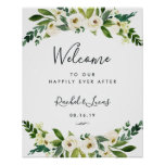 Alabaster Floral Wedding Welcome Poster