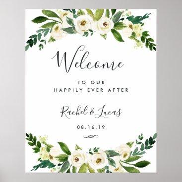RedwoodAndVine Alabaster Floral Wedding Welcome Poster