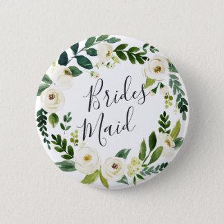 Alabaster Floral Wreath Bridesmaid Pinback Button