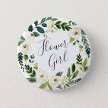 """Alabaster Floral Wreath Flower Girl Pinback Button<br><div class=""""desc"""">Identify the key players at your bridal shower with our elegant,  sweetly chic floral buttons. Button features a green and white watercolor floral wreath with &quot;flower girl&quot; inscribed inside in hand lettered script.</div>"""